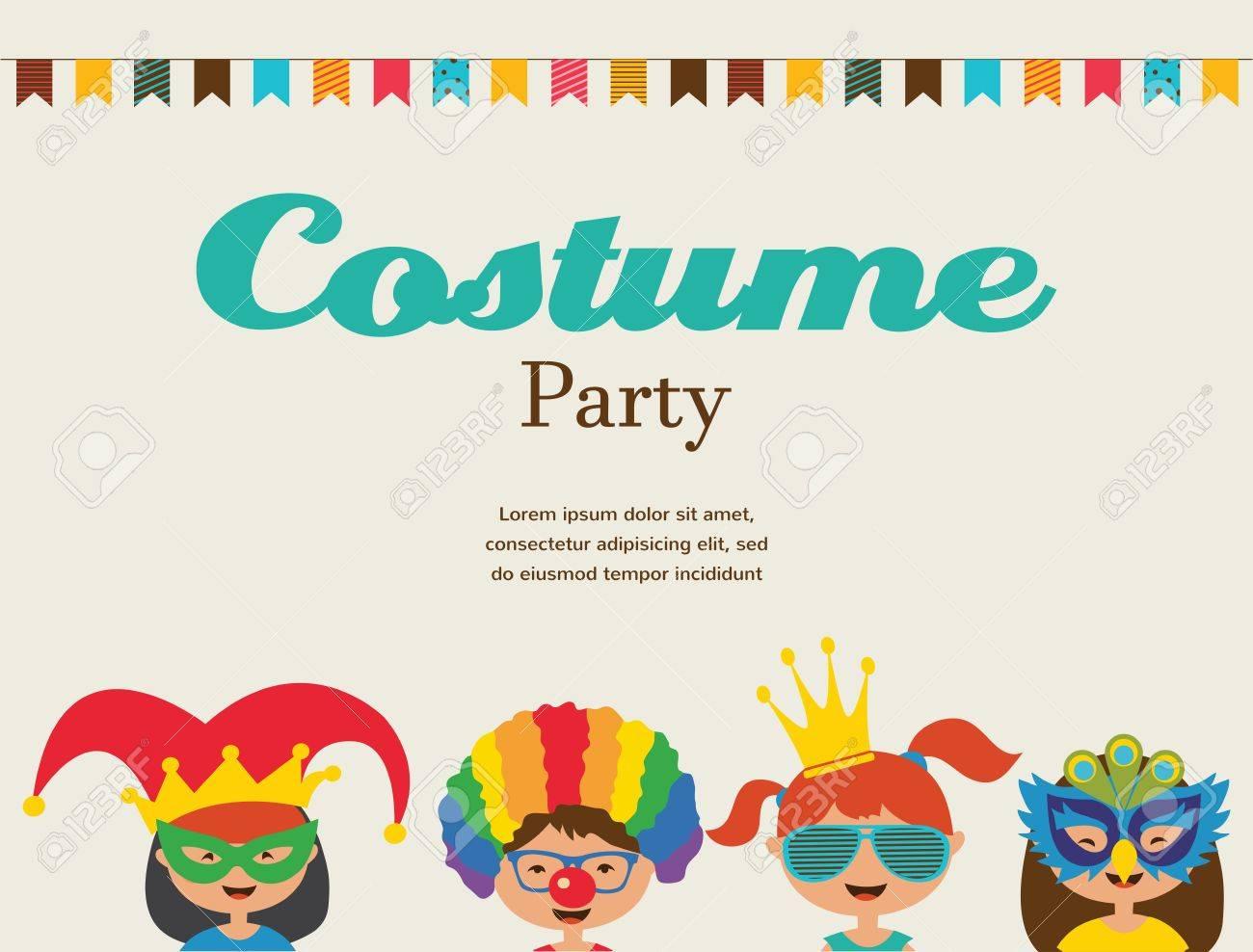 Einladung Für Kostümfest. Kinder Tragen Verschiedene Kostüme ...