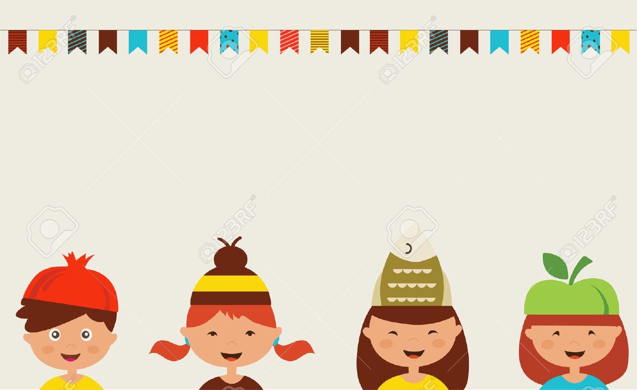 Einladung Für Kostümfest. Kinder Tragen Verschiedene Hüte Lizenzfrei ...