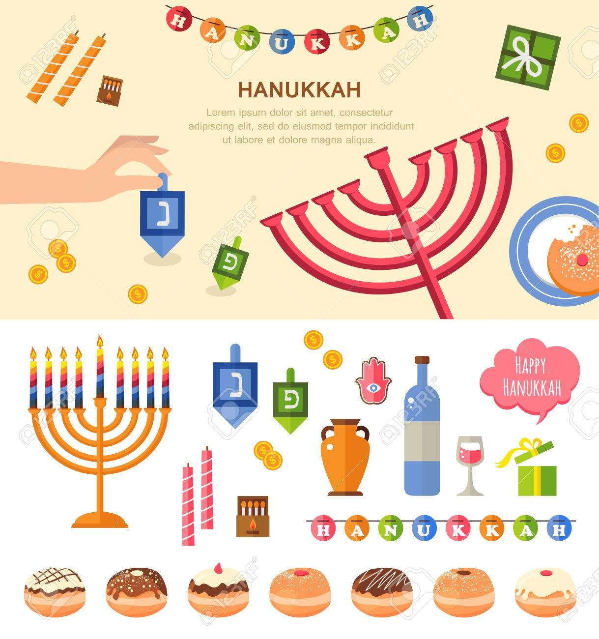 Various Symbols And Items Of Hanukkah Celebration Flat Icons