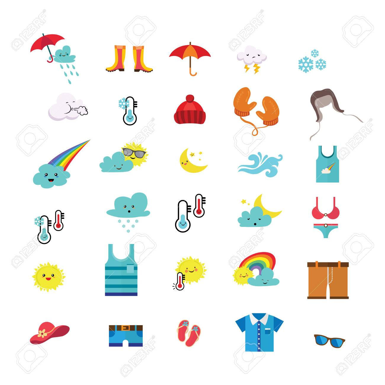weather icons and seasonal clothes vector illustration royalty free