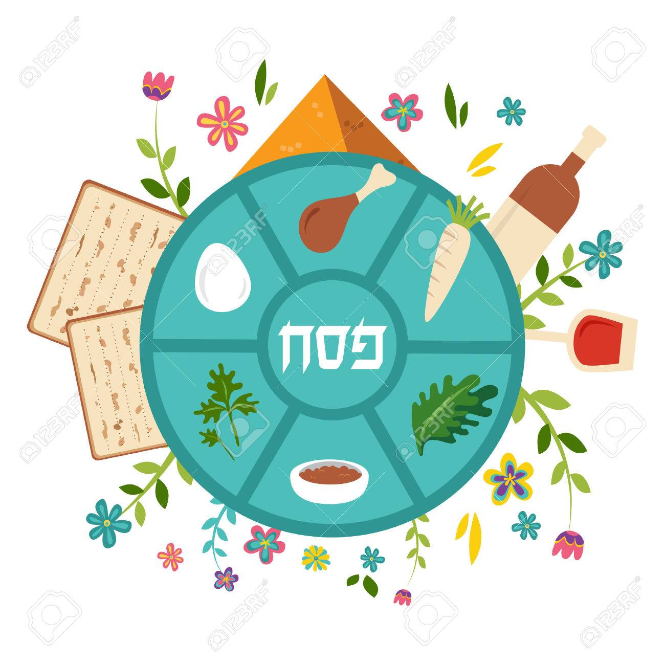 Passover seder plate with floral decoration passover in hebrew passover seder plate with floral decoration passover in hebrew in the middle vector illustration buycottarizona