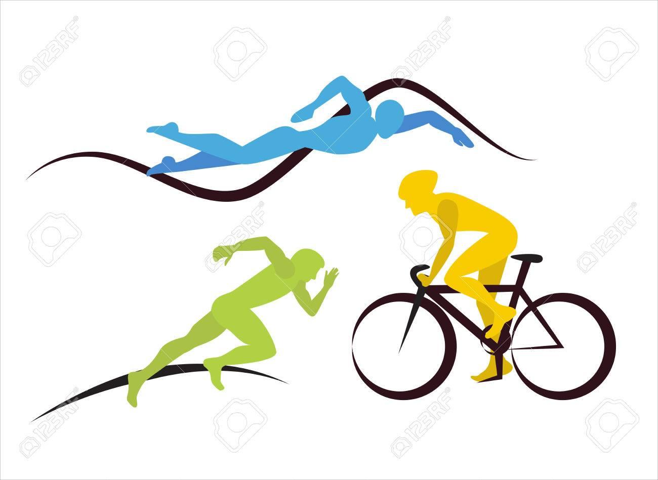 three triathlon athletes icons for triathlon and other spot
