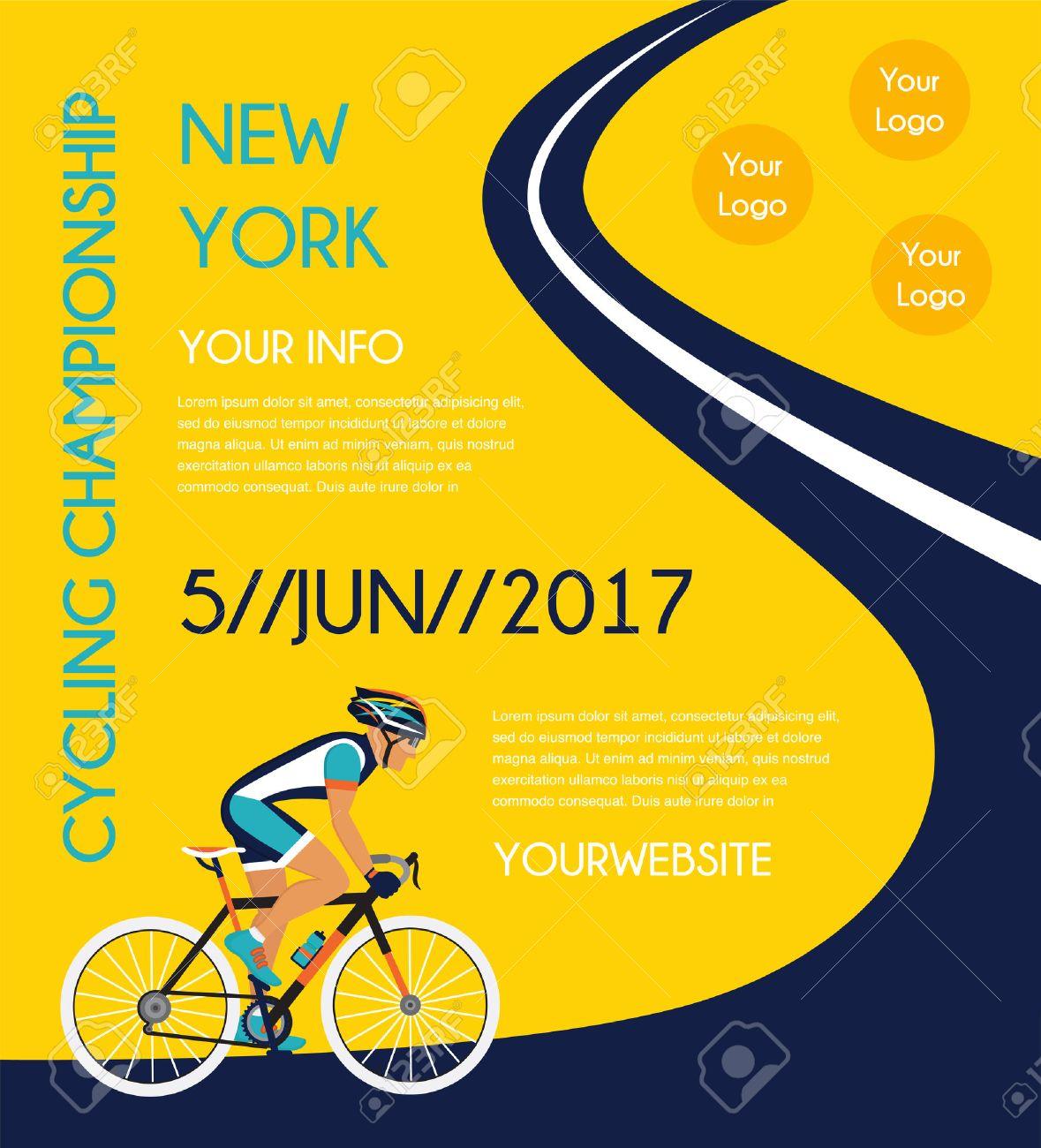 c3219ad30a Ciclismo de carretera cartel de la competencia. colorida ilustración  vectorial Foto de archivo - 56597977