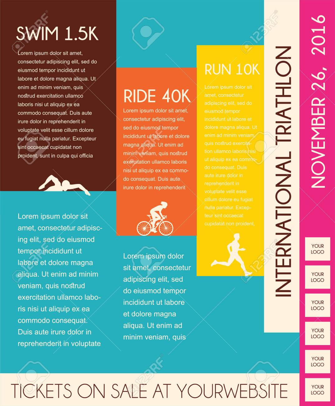 illustration triathlon, flat design. poster template royalty free