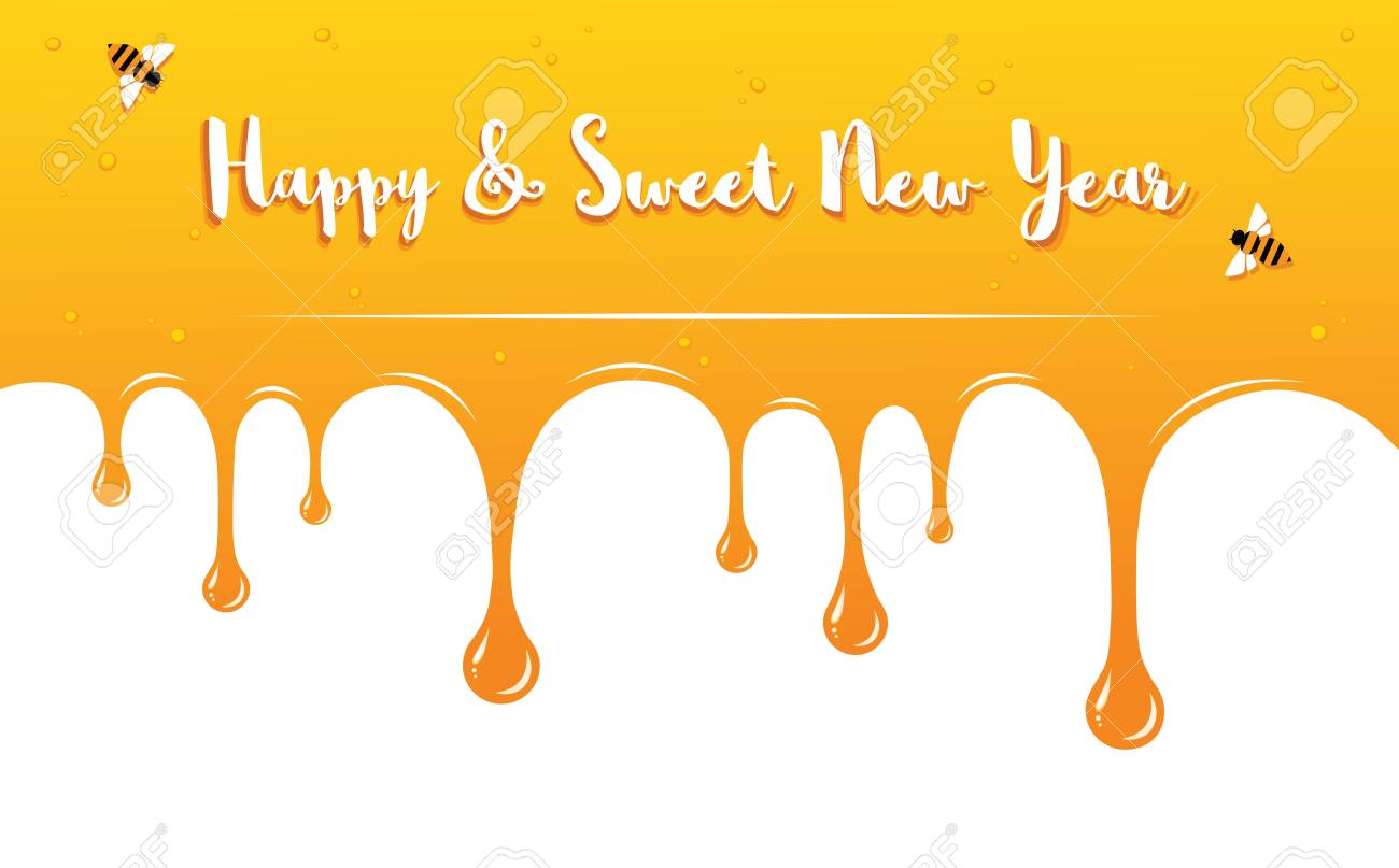 Honey Drips With Shana Tova Greetings Rosh Hashanah Card Vector