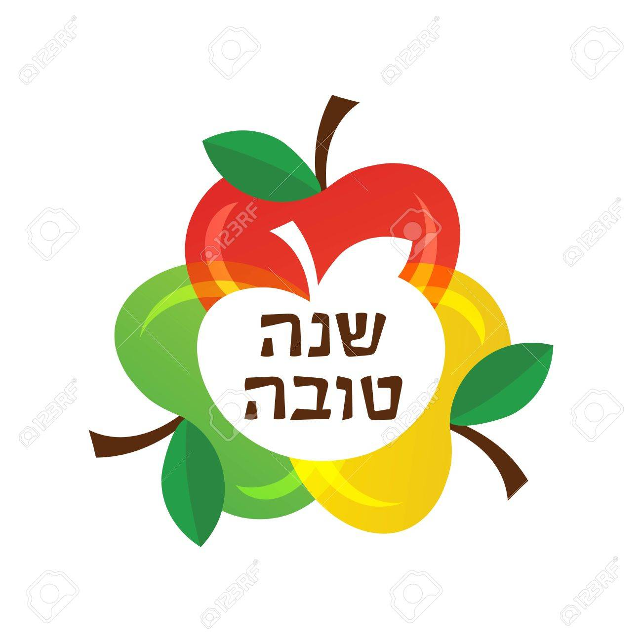Vector happy new year greeting card and icons of colourful apples vector happy new year greeting card and icons of colourful apples in hebrew stockfoto kristyandbryce Image collections