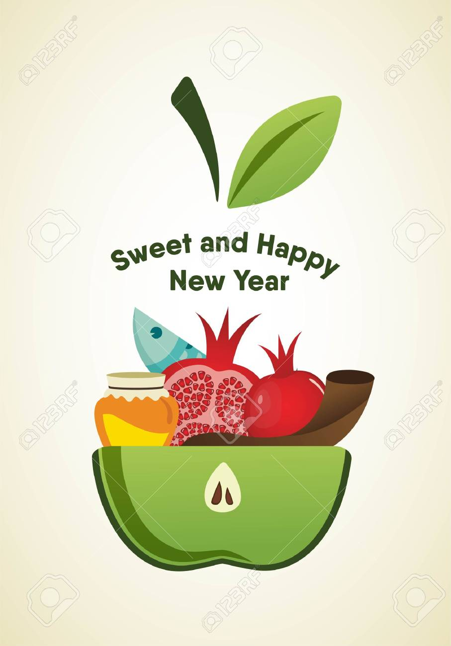 Apple slice with rosh hashanah symbols vector illustration royalty apple slice with rosh hashanah symbols vector illustration stock vector 61457649 buycottarizona Images