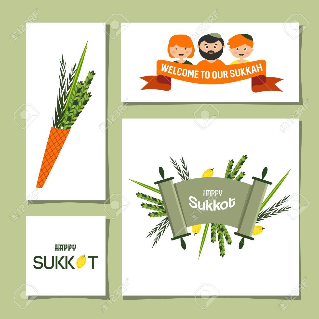 Set Of Greeting Cards For Jewish Holiday Sukkot Stock Vector