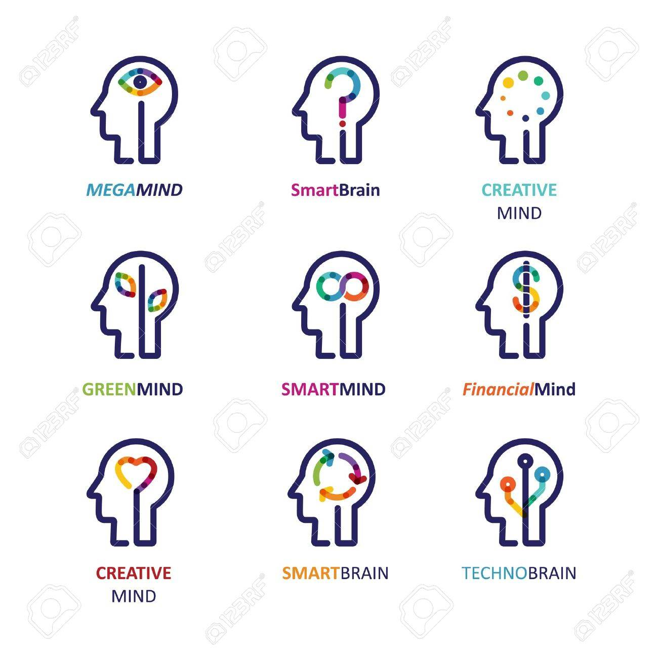 Brain, Creative mind, learning and design icon. Man head, people symbol - 71078847