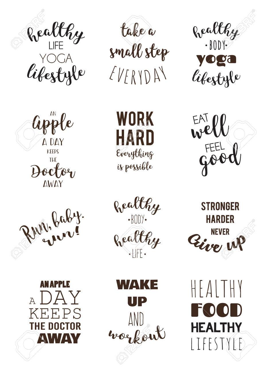 Healthy Quotes | Sport And Healthy Lifestyle Motivation Quotes Royalty Free Cliparts