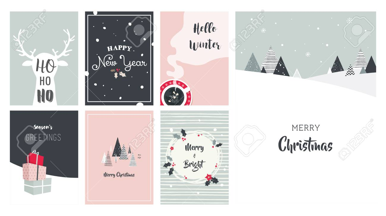 Merry Christmas Card Set Illustrations And Icons Lettering
