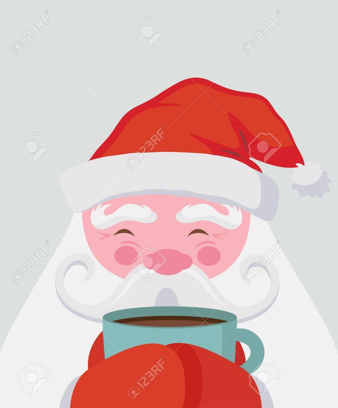 Santa drinking a hot drink and warm himself. Vector christmas illustration - 87346314