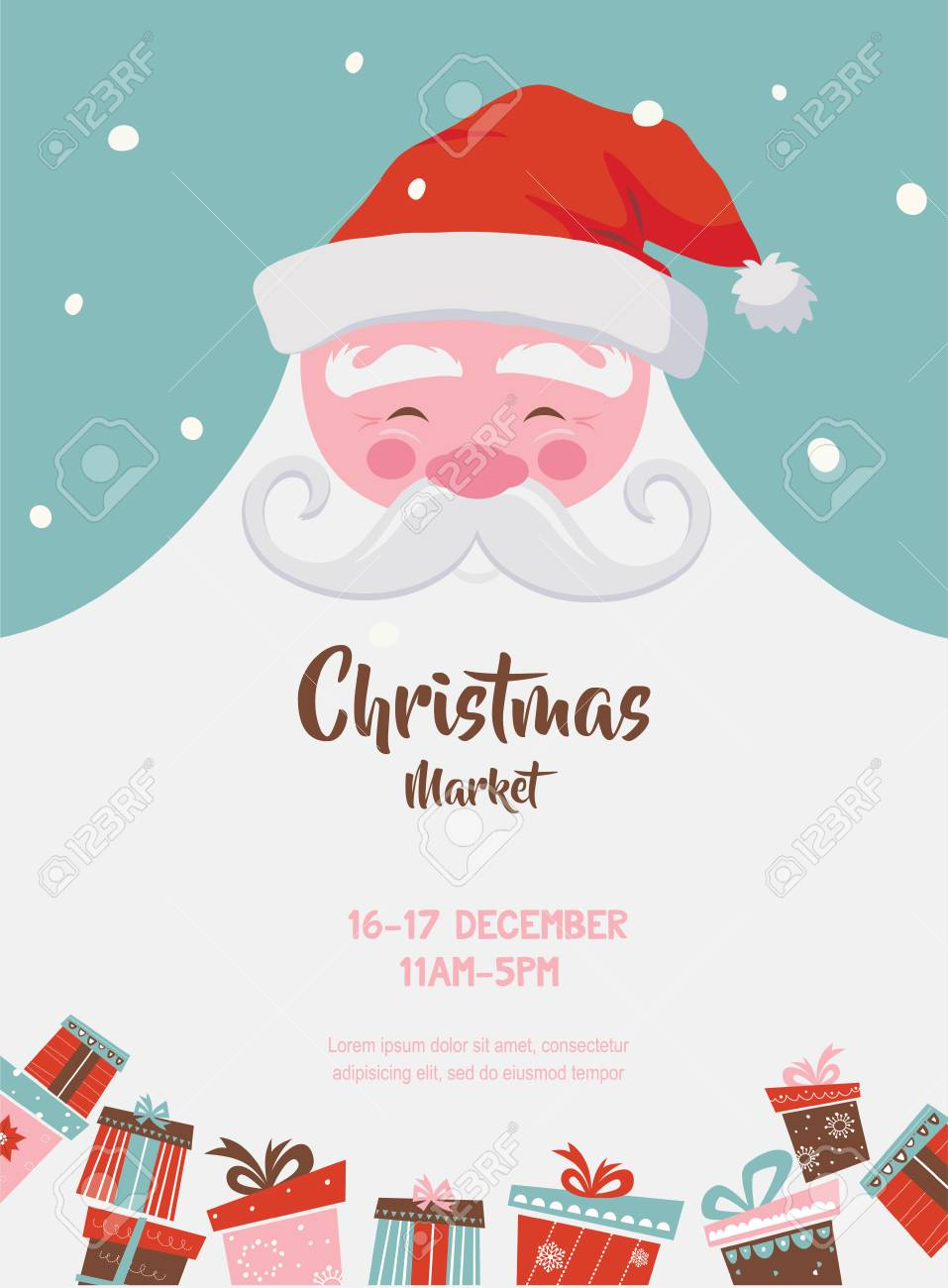 cbf2ace20e christmas market poster with santa and presents. vector illustration Stock  Vector - 88539544