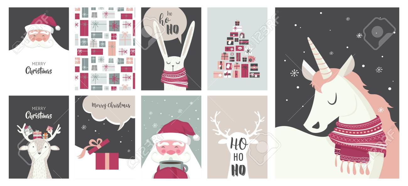 Merry Christmas cards, illustrations and icons, lettering design..
