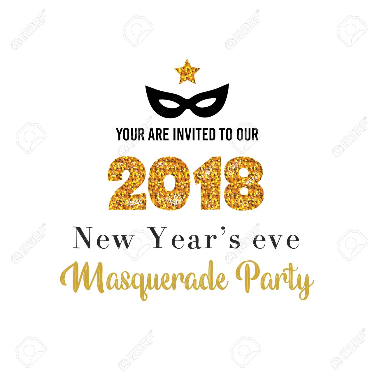 New Year Party Invitation Template Royalty Free Cliparts Vectors