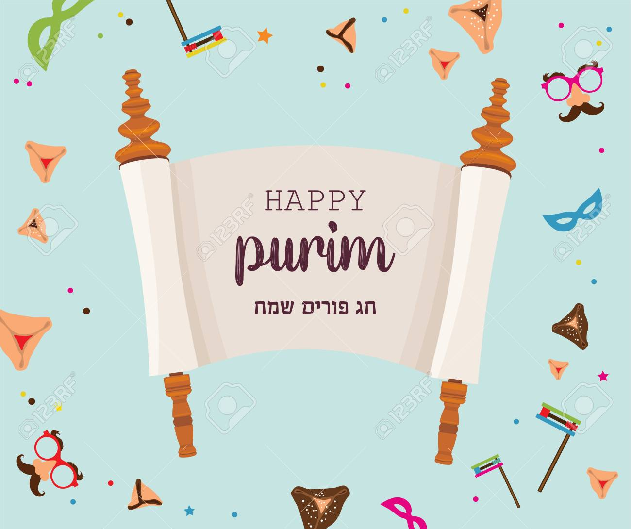 The story of purim jewish ancient scroll card or invitation jewish ancient scroll card or invitation template illustration stock vector stopboris Gallery