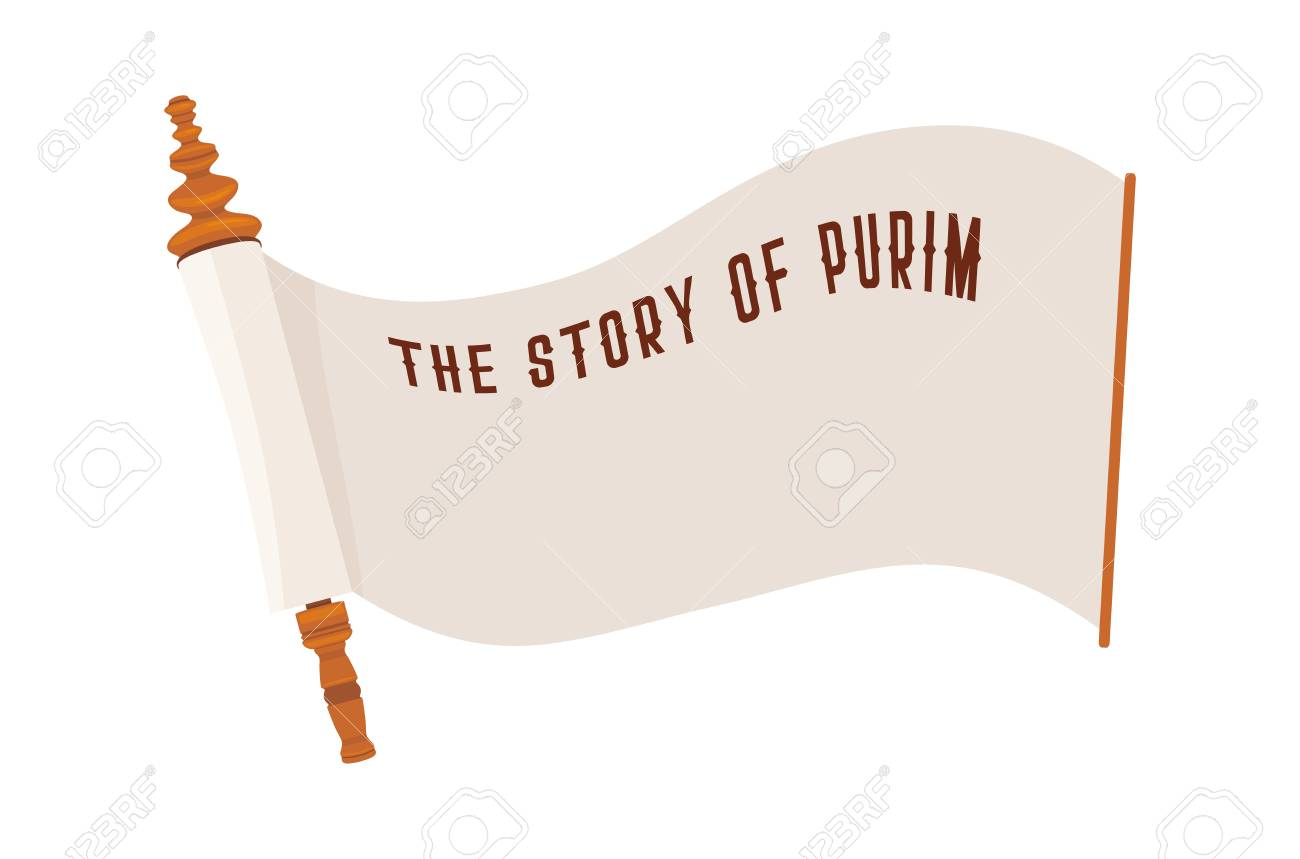 the story of purim jewish ancient scroll banner template