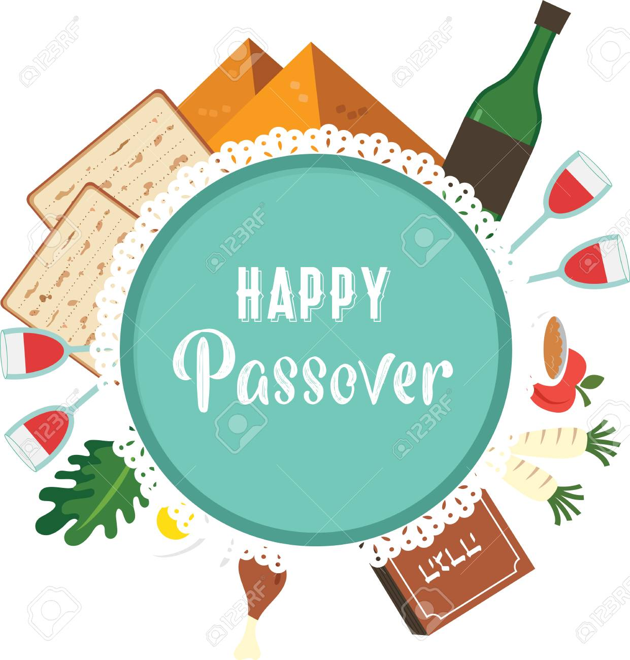 Passover seder plate with flat traditional icons greeting card passover seder plate with flat traditional icons greeting card design template abstract vector illustration m4hsunfo