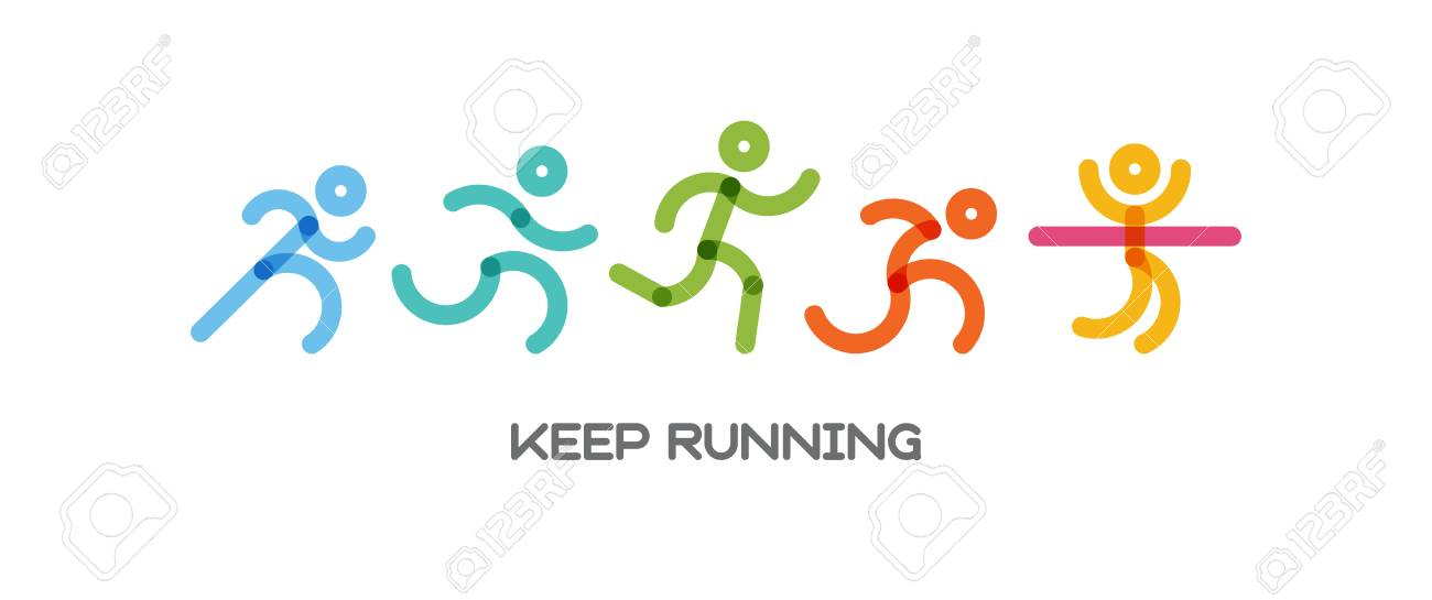 Dynamic running people set. Sport and healthy lifestyle illustration for your design. competition and finish. vector illustration - 97388746