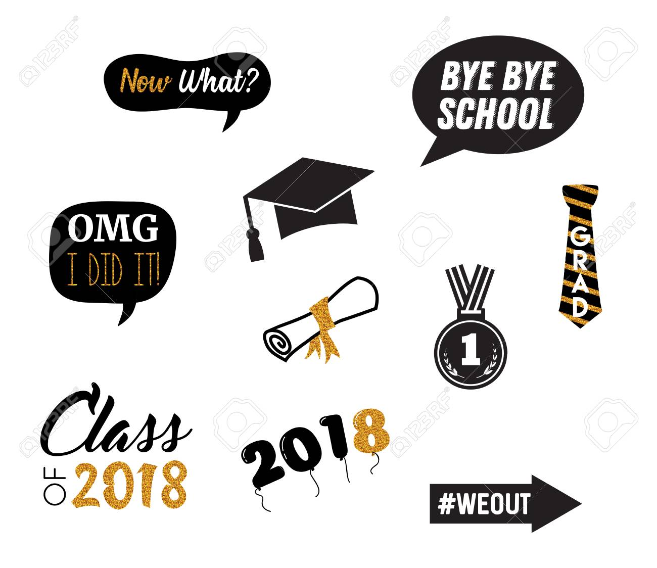 graphic about Graduation Photo Booth Props Printable known as commencement celebration vector style variables and image booth props