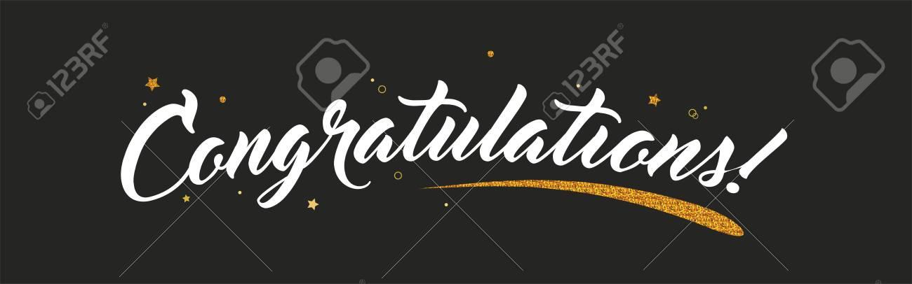 Congrats, Congratulations banner with glitter decoration. Handwritten modern brush lettering dark background. Vector Illustration for greeting - 101802103