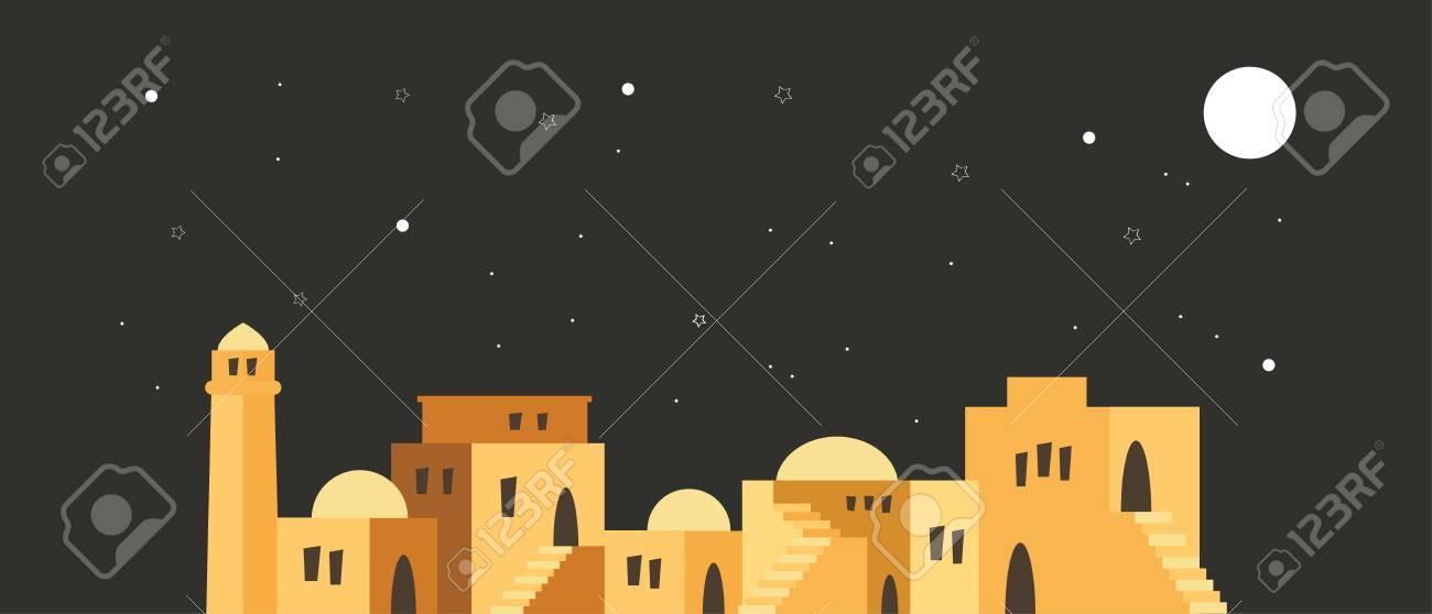 skyline of old city of Jerusalem over a night scene. vector illustration - 105076048