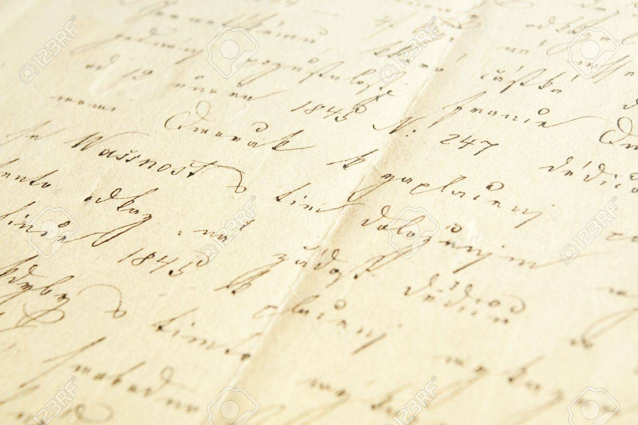 Old handwriting, document from eighteen forty seven, narrow focus Stock Photo - 8875451