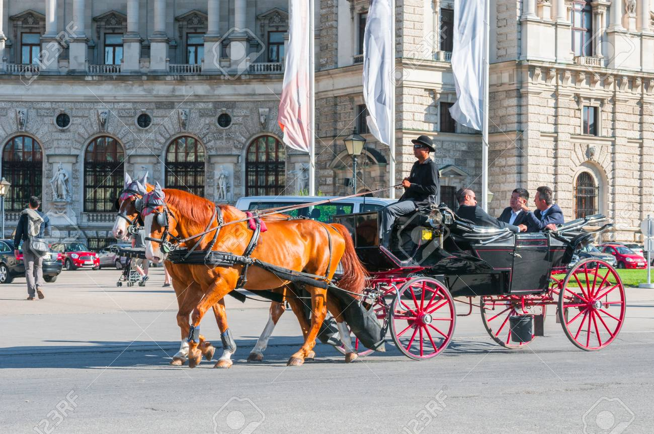 vienna, austria june 07, 2017 traditional old fashioned fiacrestock photo vienna, austria june 07, 2017 traditional old fashioned fiacre at heldenplatz near hofburg