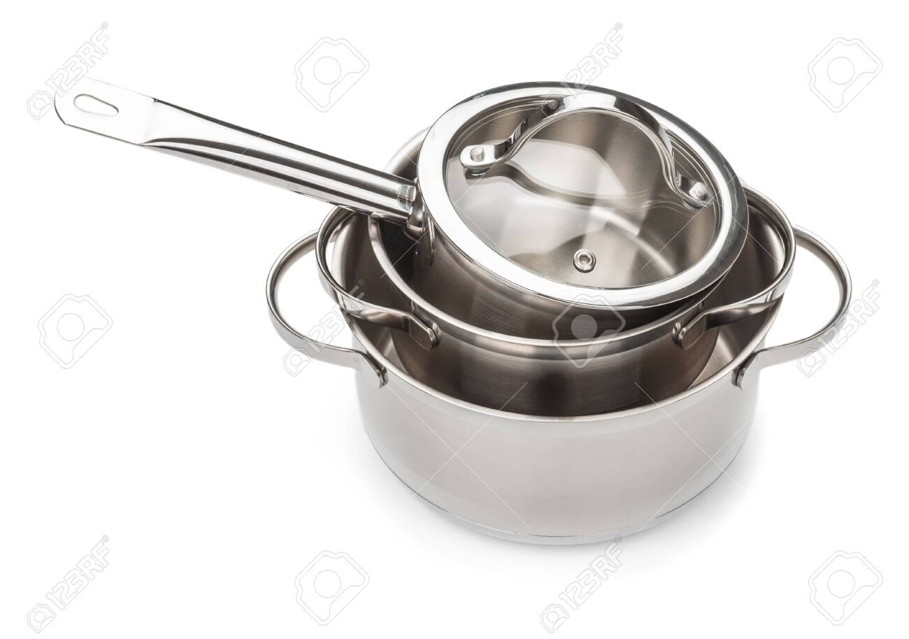 Set of saucepans close up isolated on white background - 135136853