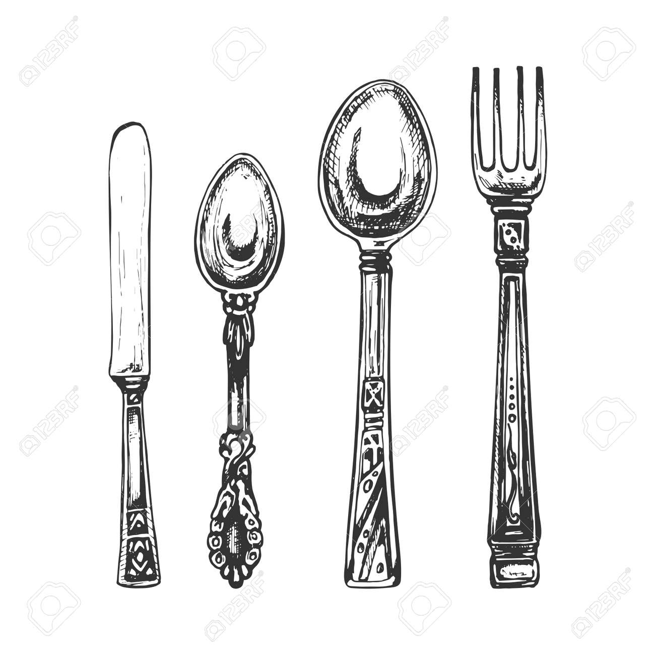 two spoons, fork, knife, cutlery graphic, black outline on white background, vintage hand drawing - 159370186