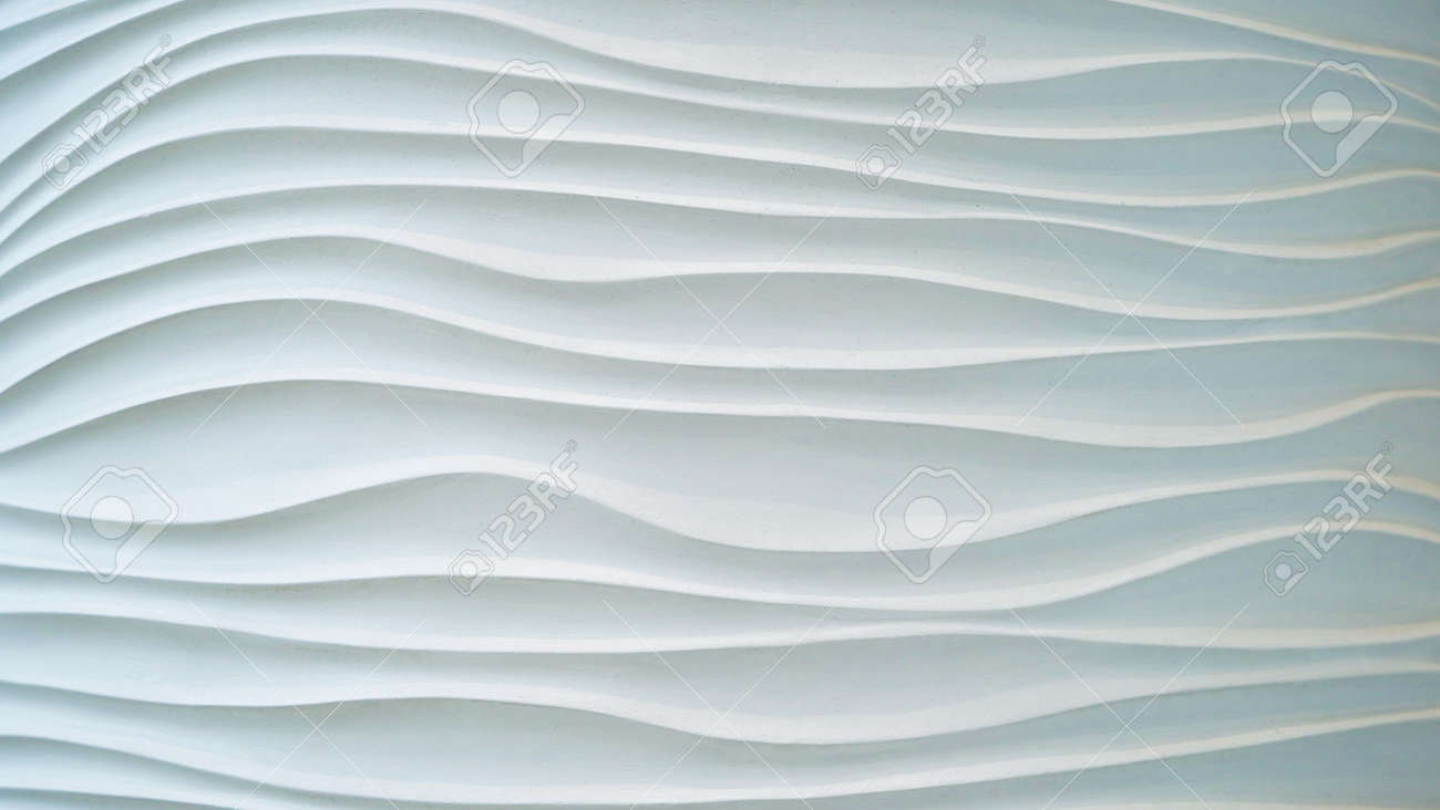 Gypsum texture.White wavy background. Interior wall decoration or panel pattern. white background of abstract waves. - 156988422