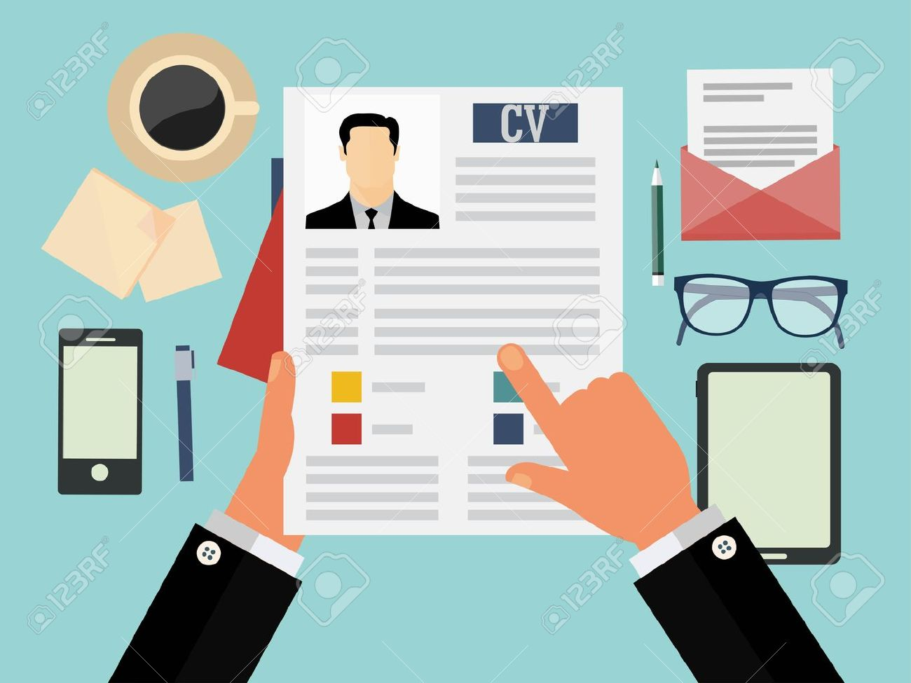 Job Interview Concept With Business Cv Resume Royalty Free Cliparts Vectors And Stock Illustration Image 36762097