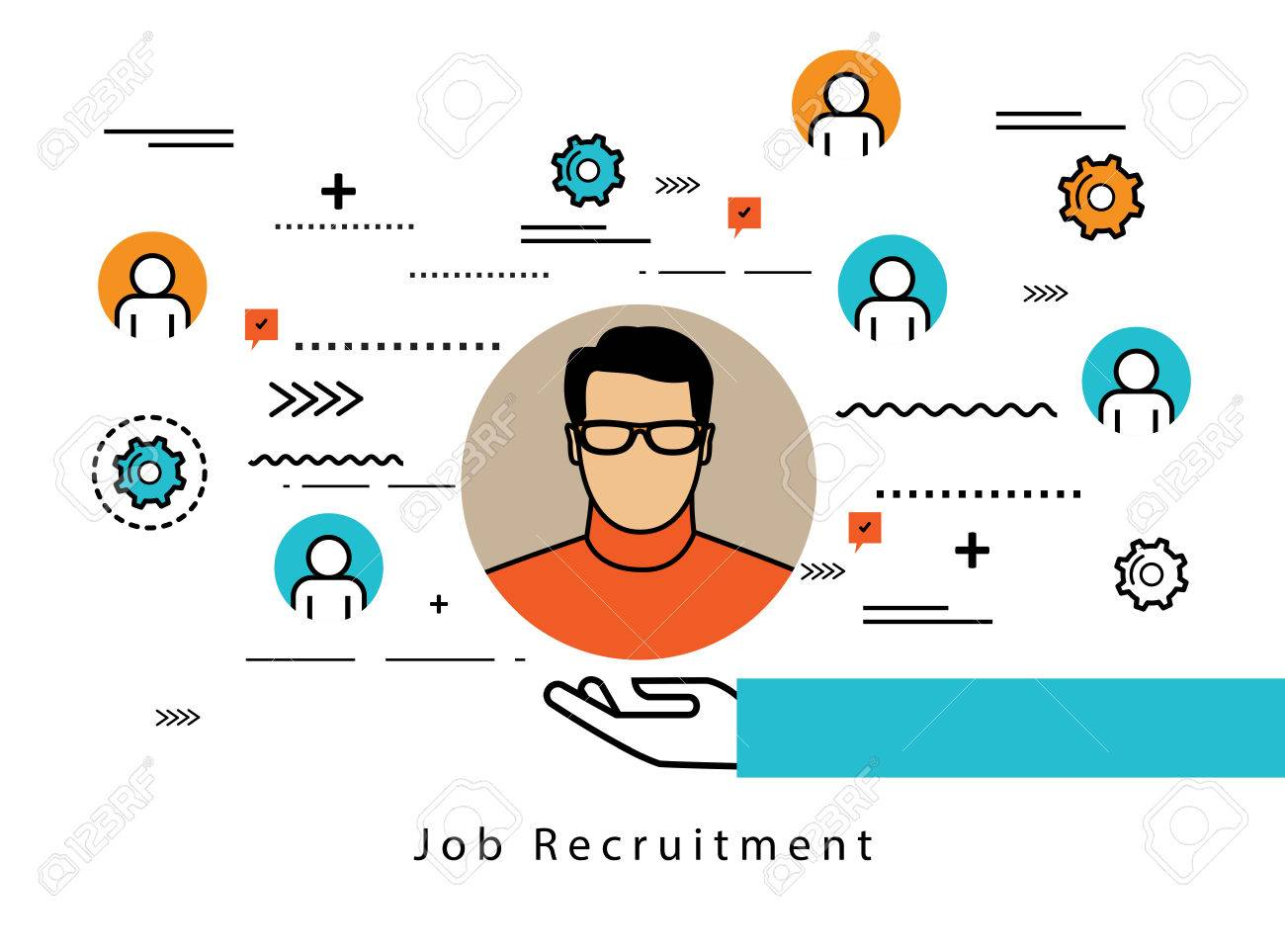 Line Flat Business Design And Infographic Elements For Job Candidate Evaluation And Interviewessment And
