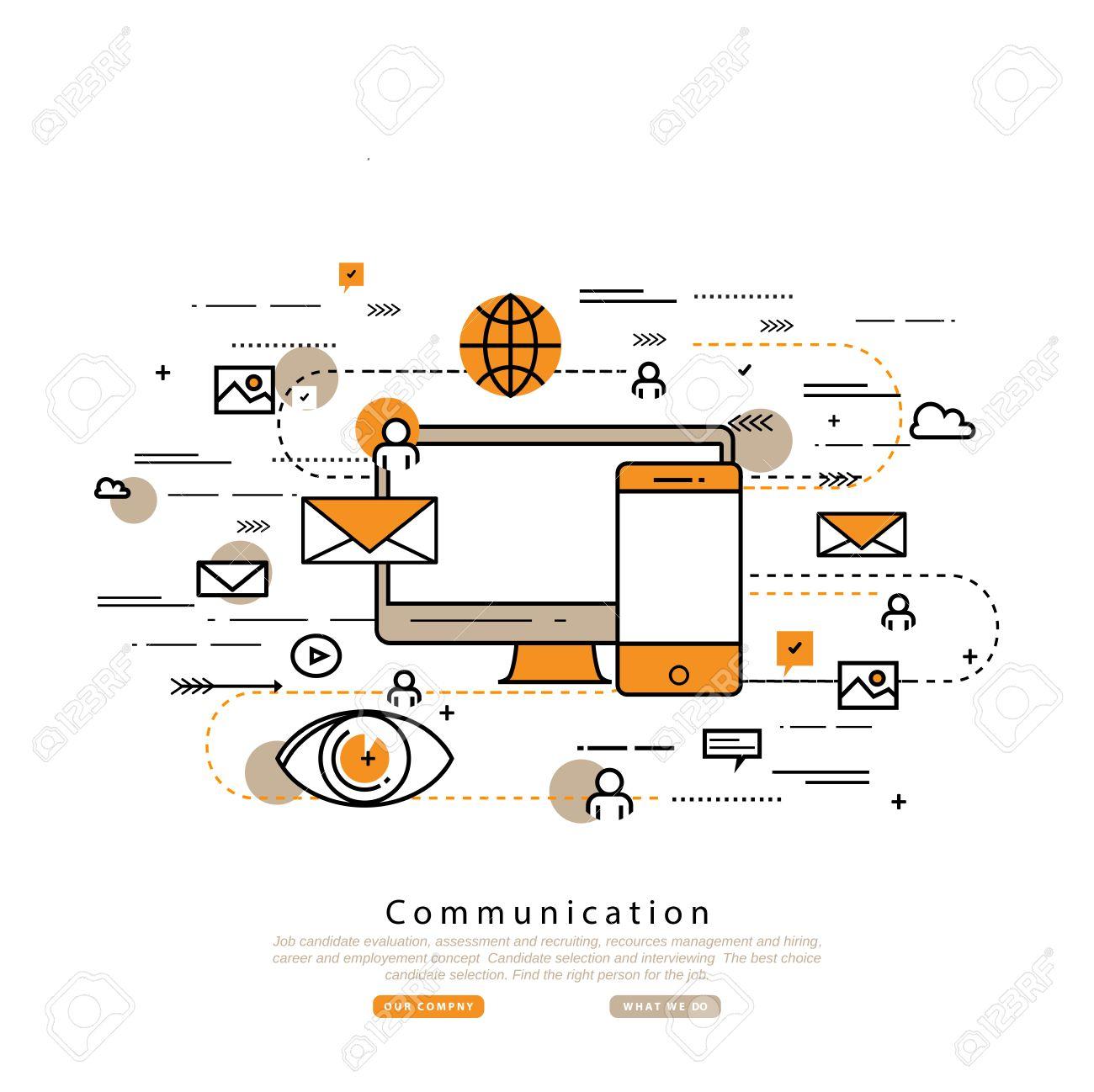 Flache Linie Business-Vektor-Illustration, Design Für Online-Social ...
