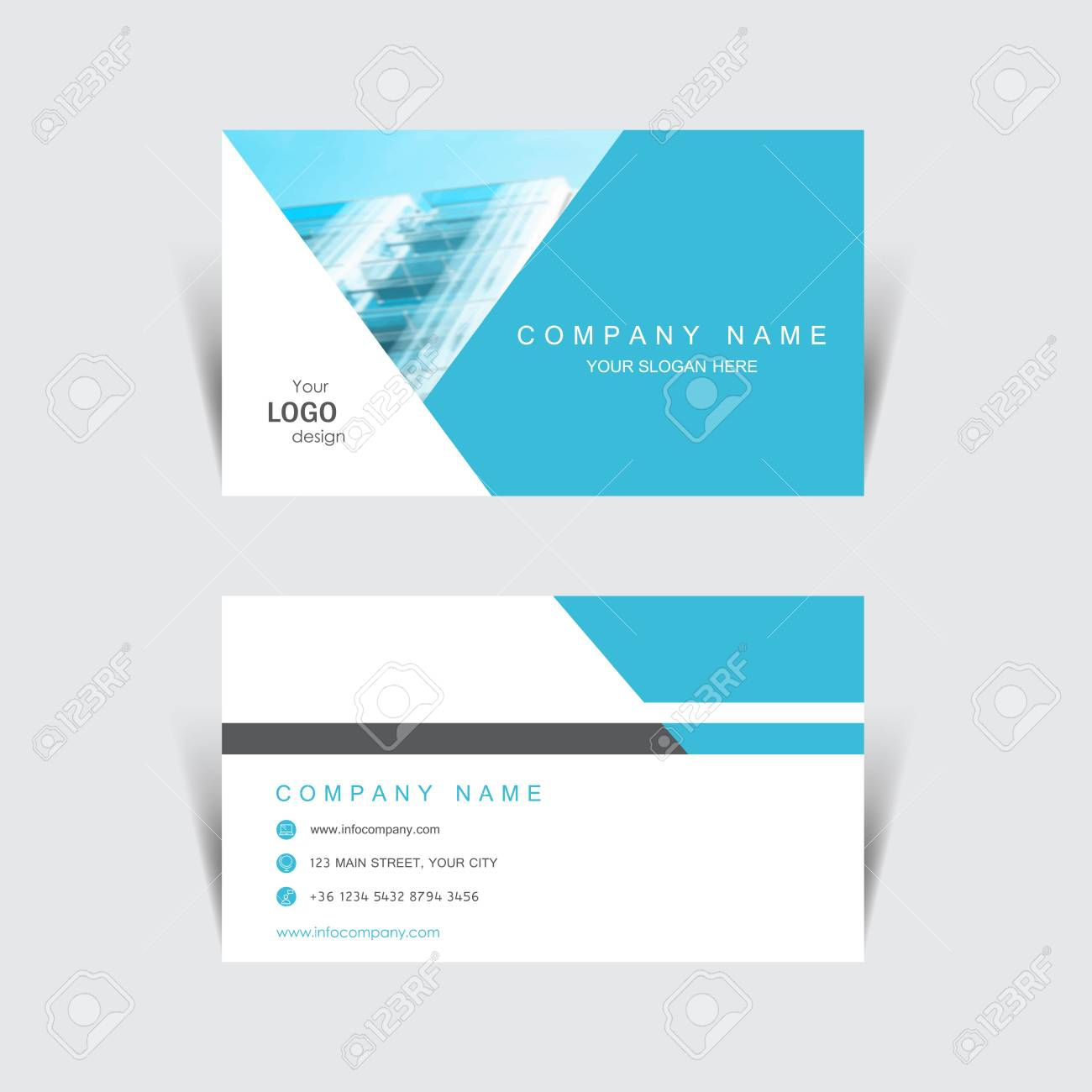 Business Card Print Template Design Vector Illustration Stationery