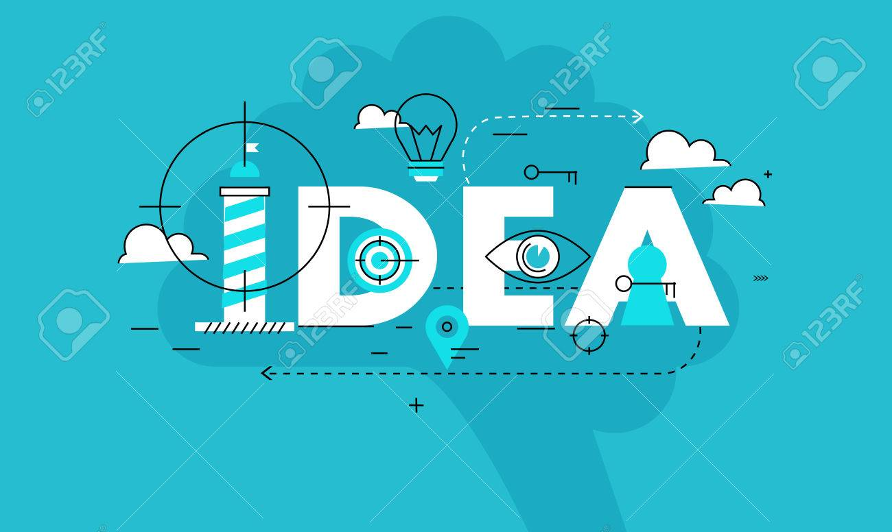 word idea business vector illustration design banner creative thinking analysis education research - Graphic Design Business Ideas