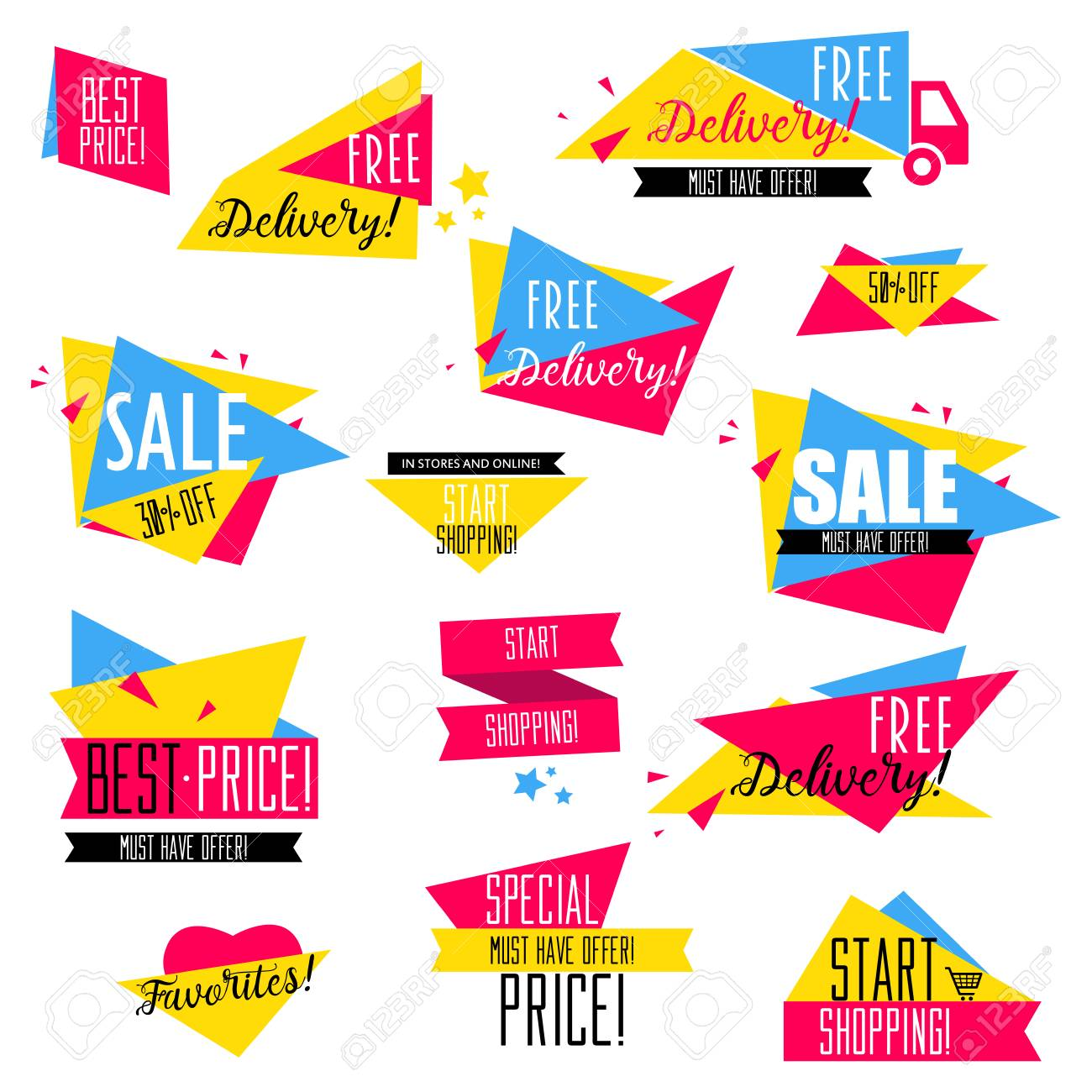 flat design sale badges and stickers collection sale and promotion