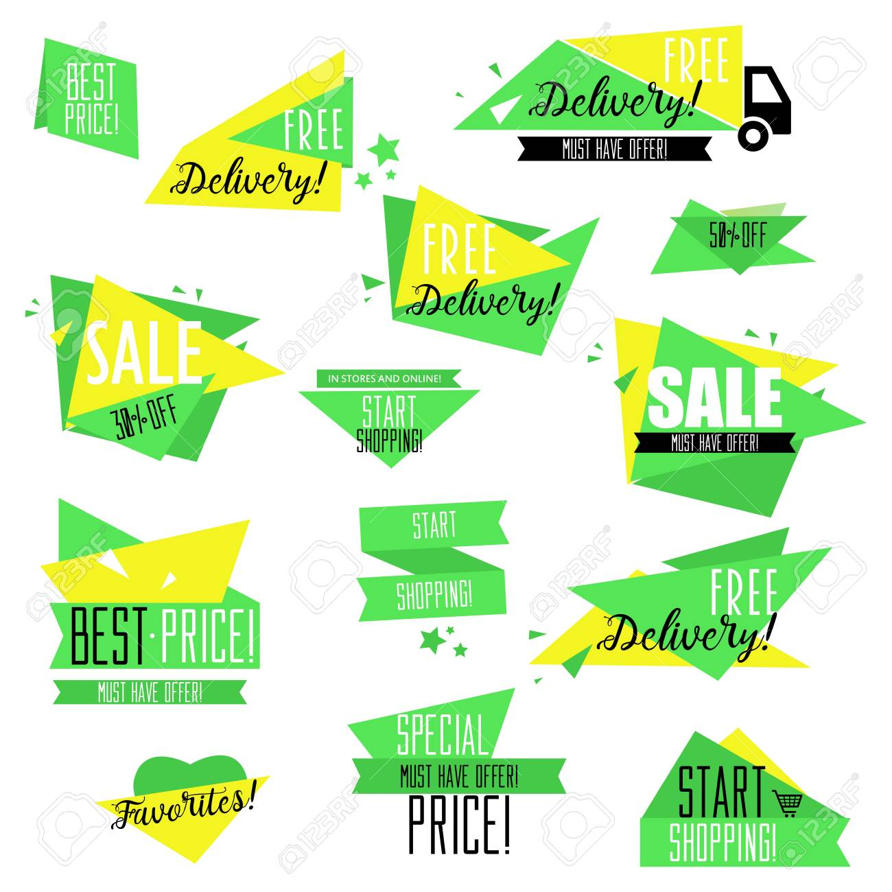 Badge Website flat design sale badges and stickers collection sale and promotion