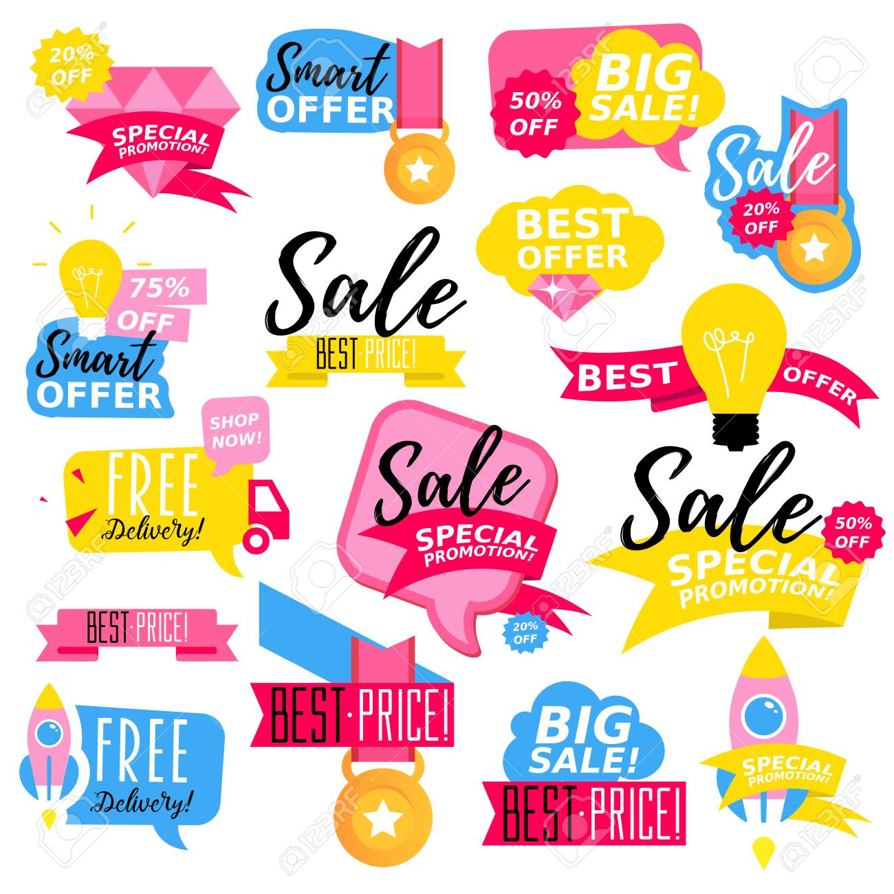 Flat design colorful sale stickers collection online shopping sale and promotion website and