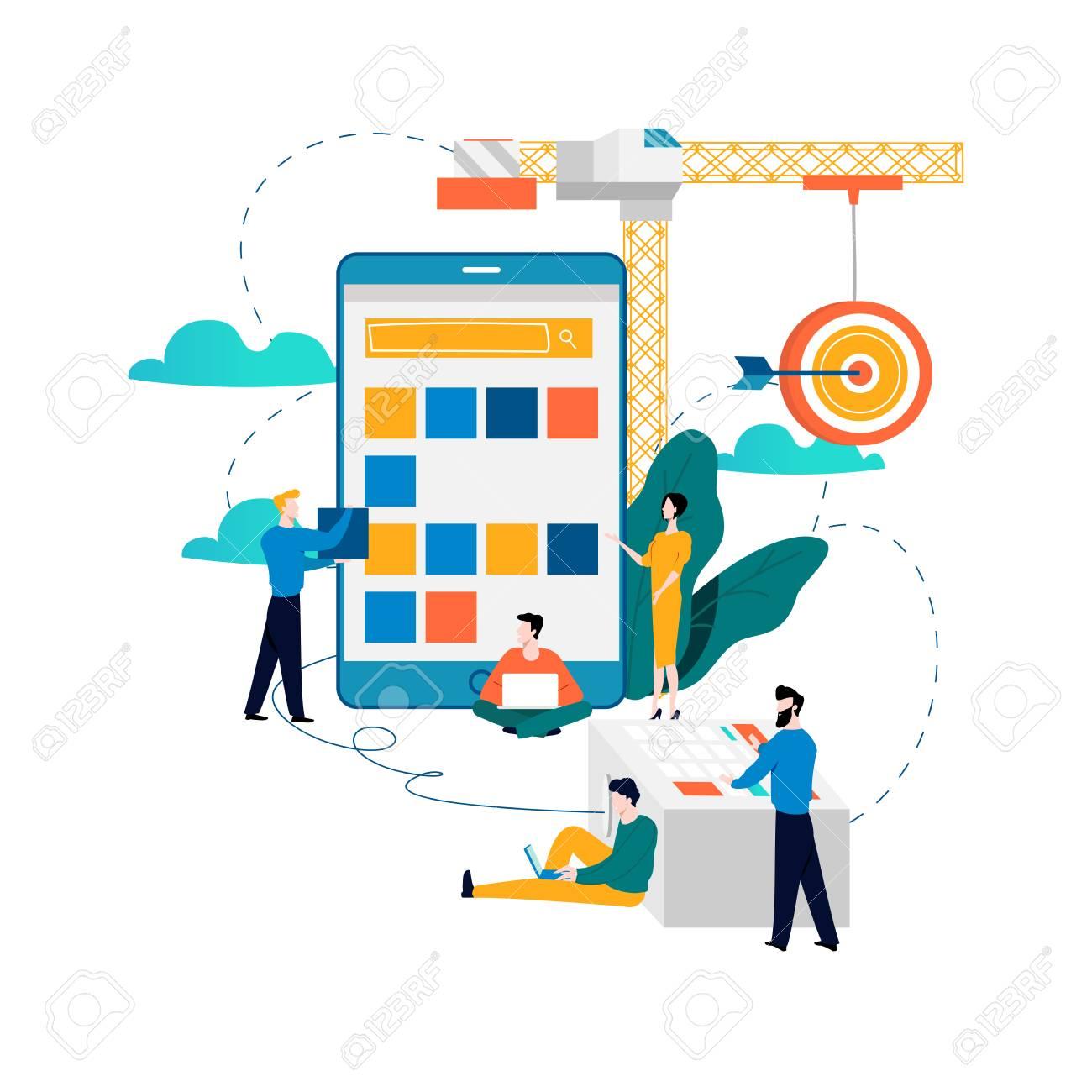 Mobile application development process flat vector illustration. - 92888056