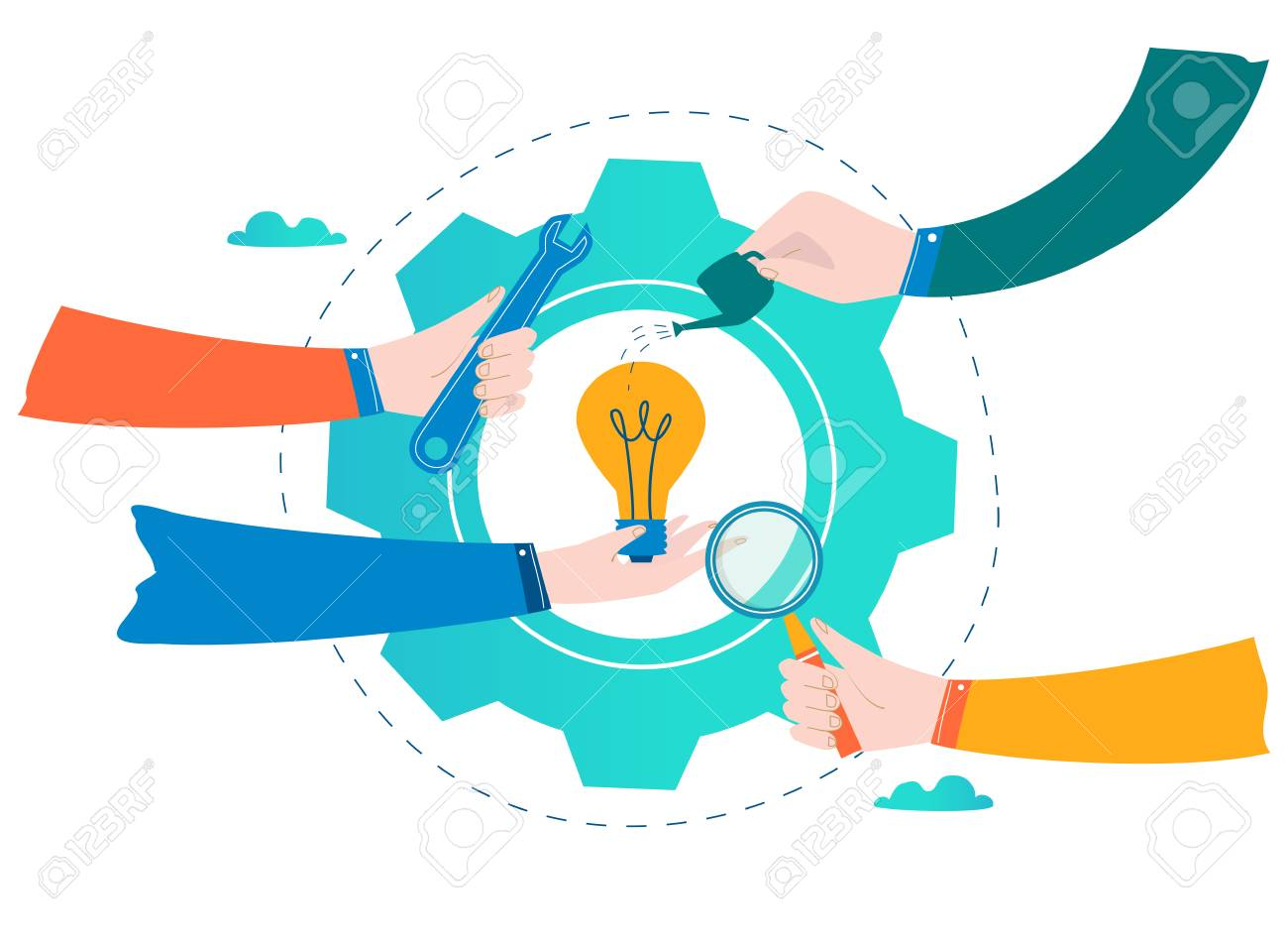 Business development, project and research, testing and improvement design for mobile and web graphics flat vector illustration - 94045439