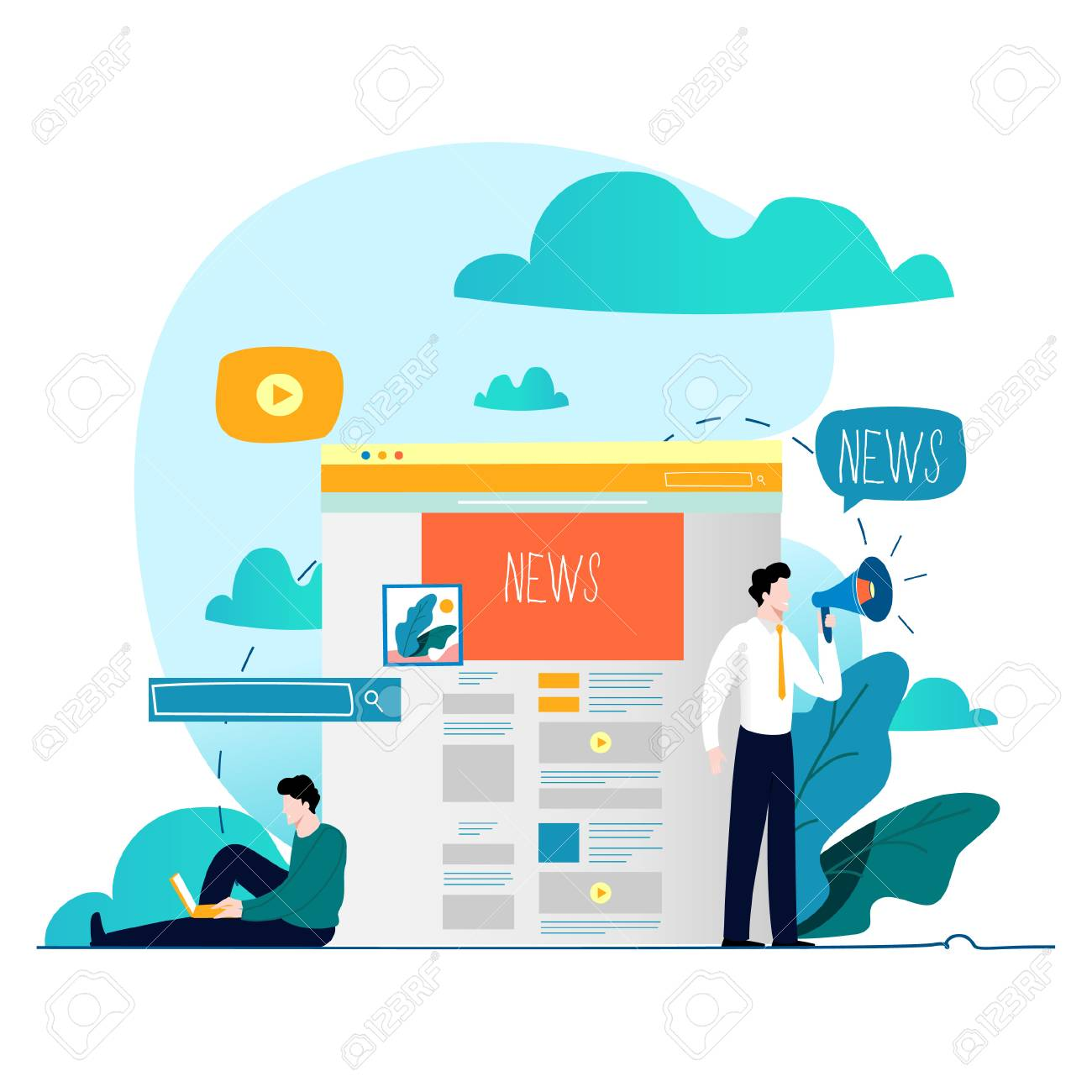 News update, online news, newspaper, news website flat vector illustration. News webpage, information about events, activities, company information and announcements - 95982540