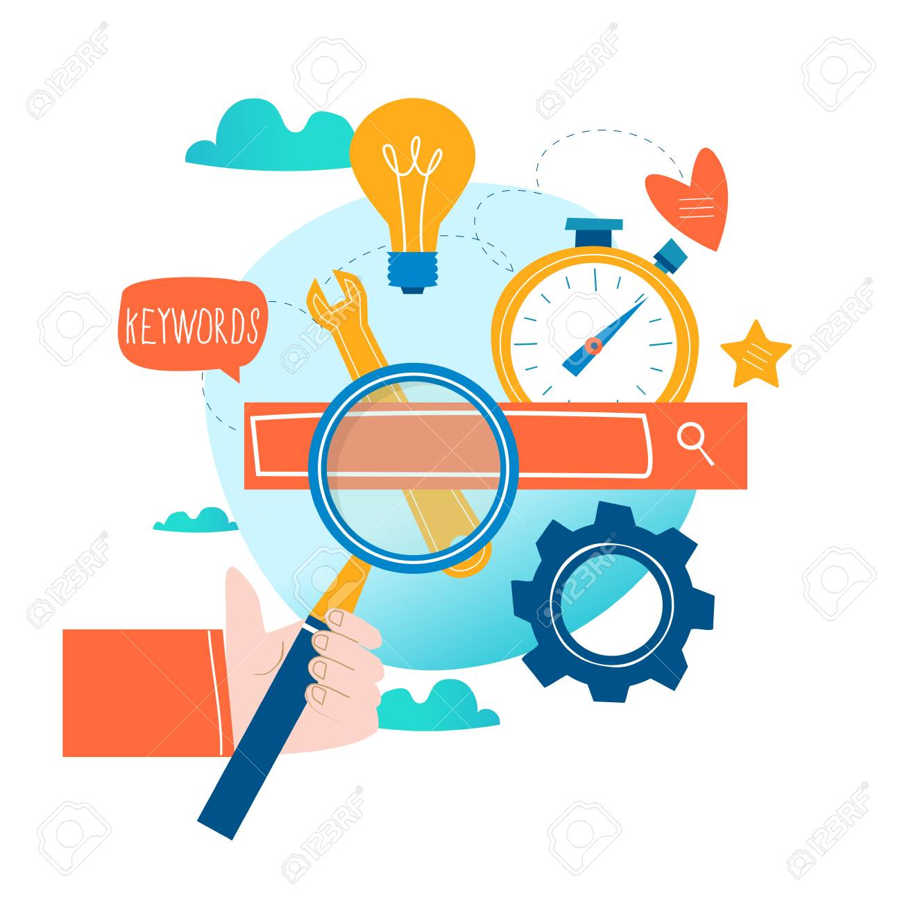 SEO, search engine optimization, keyword research, market research flat vector illustration. SEO concept. Web site coding, keywording, internet search optimization design for mobile and web graphics - 95982546