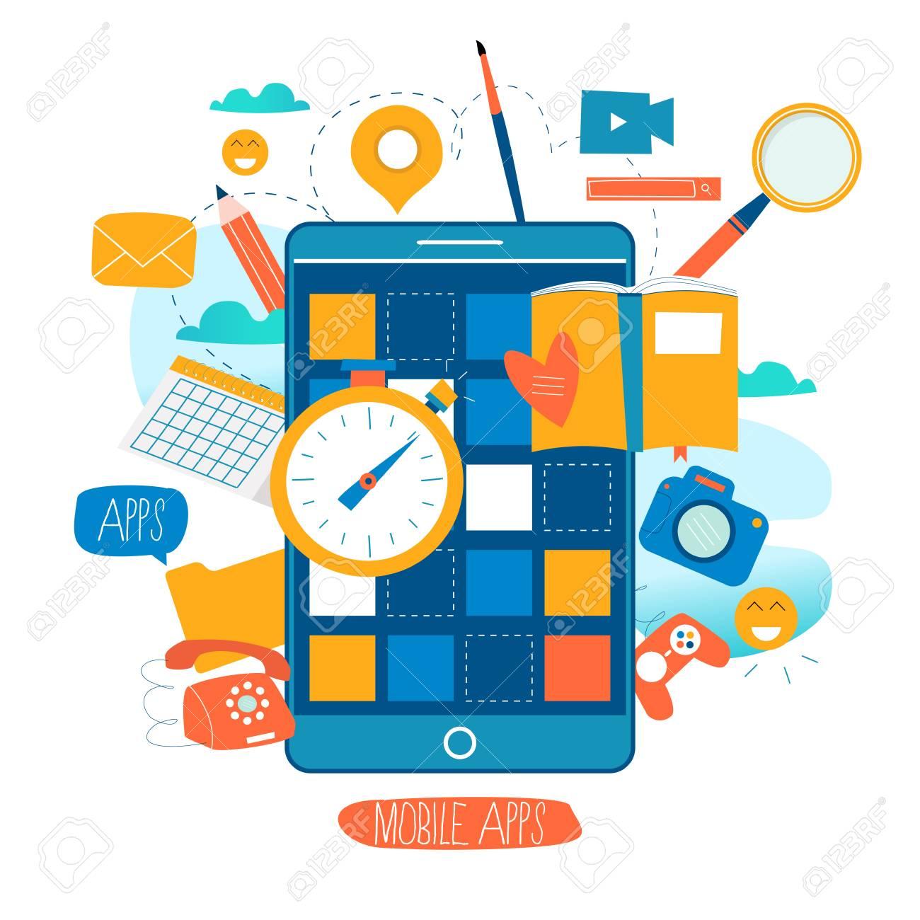 Mobile application development process flat vector illustration
