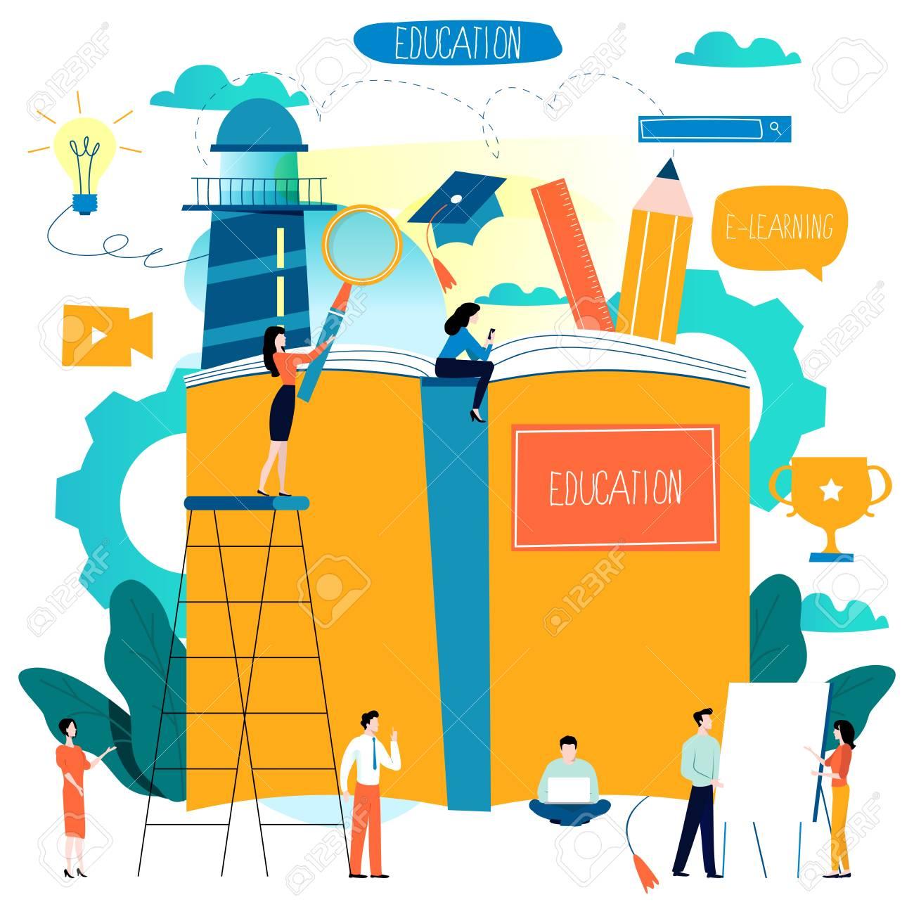 Education, online training courses, distance education flat vector illustration. - 96919242