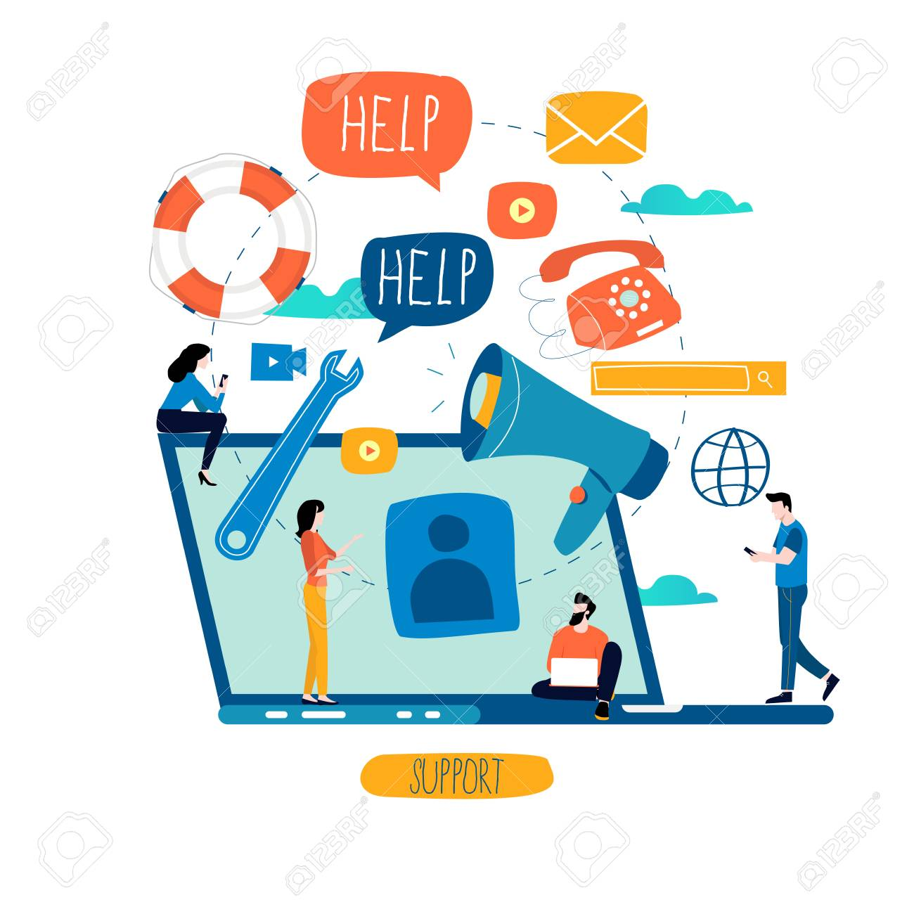 Customer service, customer assistance, call center flat vector illustration. Technical support, online help concept for web banner, business presentation, advertising material - 101204167