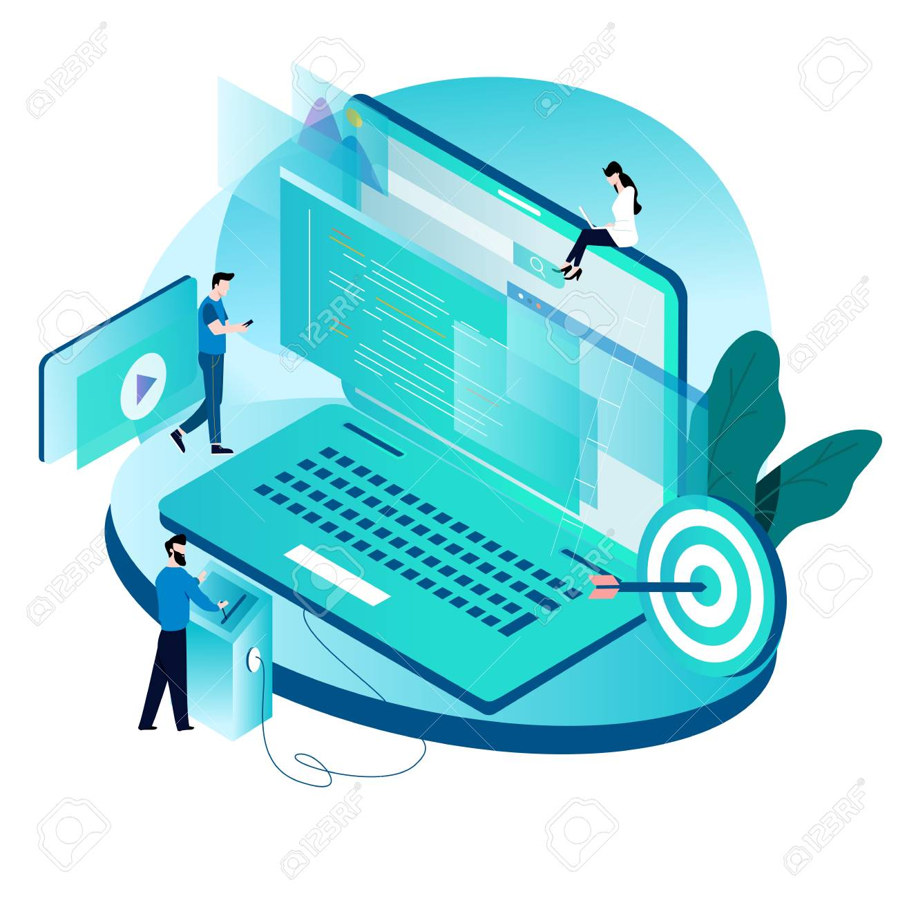 Modern isometric concept for coding, programming, website and application development vector illustration design for mobile and web graphics - 102149295