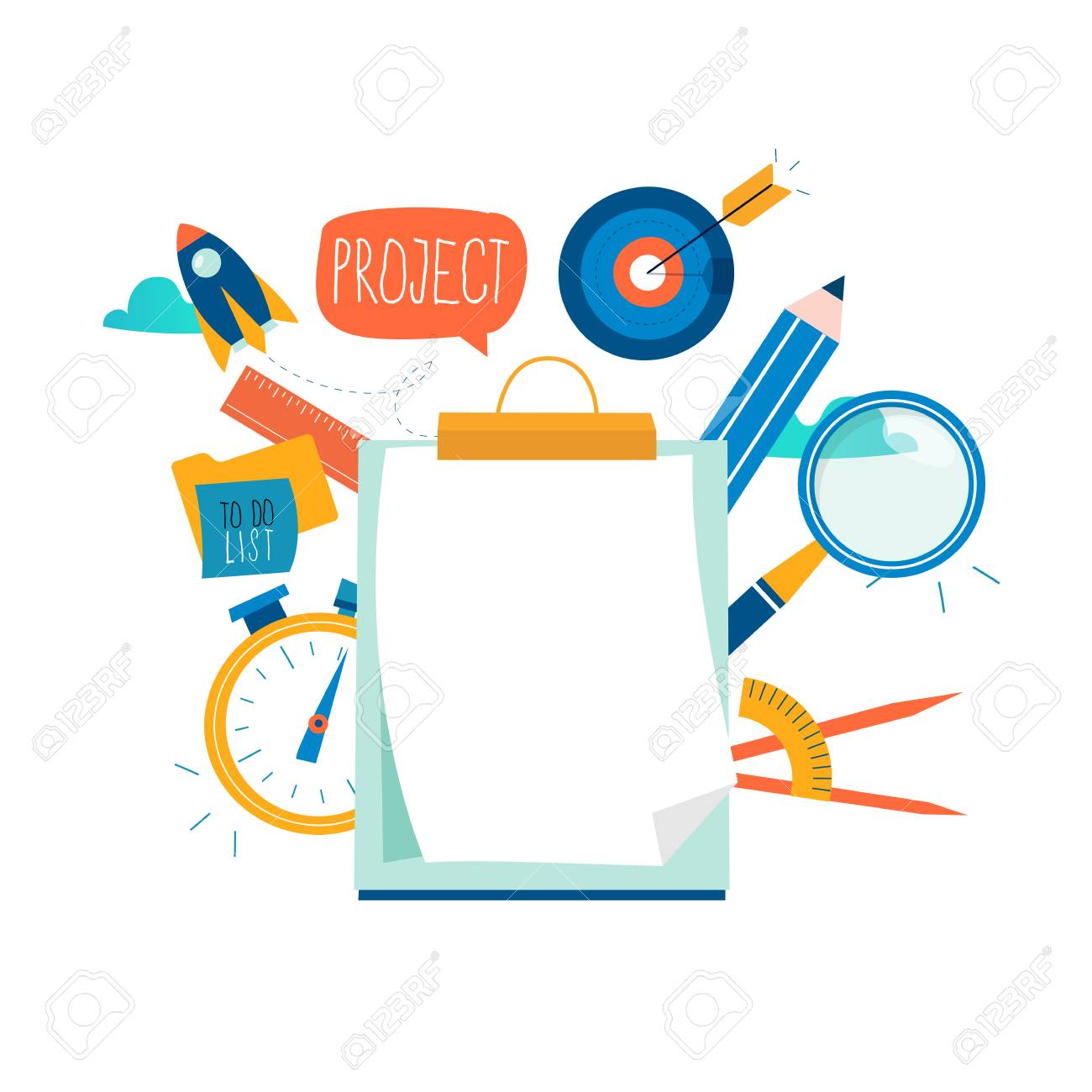 Evaluation, examination questionnaire, planning project, business assessment, data collecting flat vector illustration design. Questionnaire clipboard, project review for mobile and web graphics - 122214107