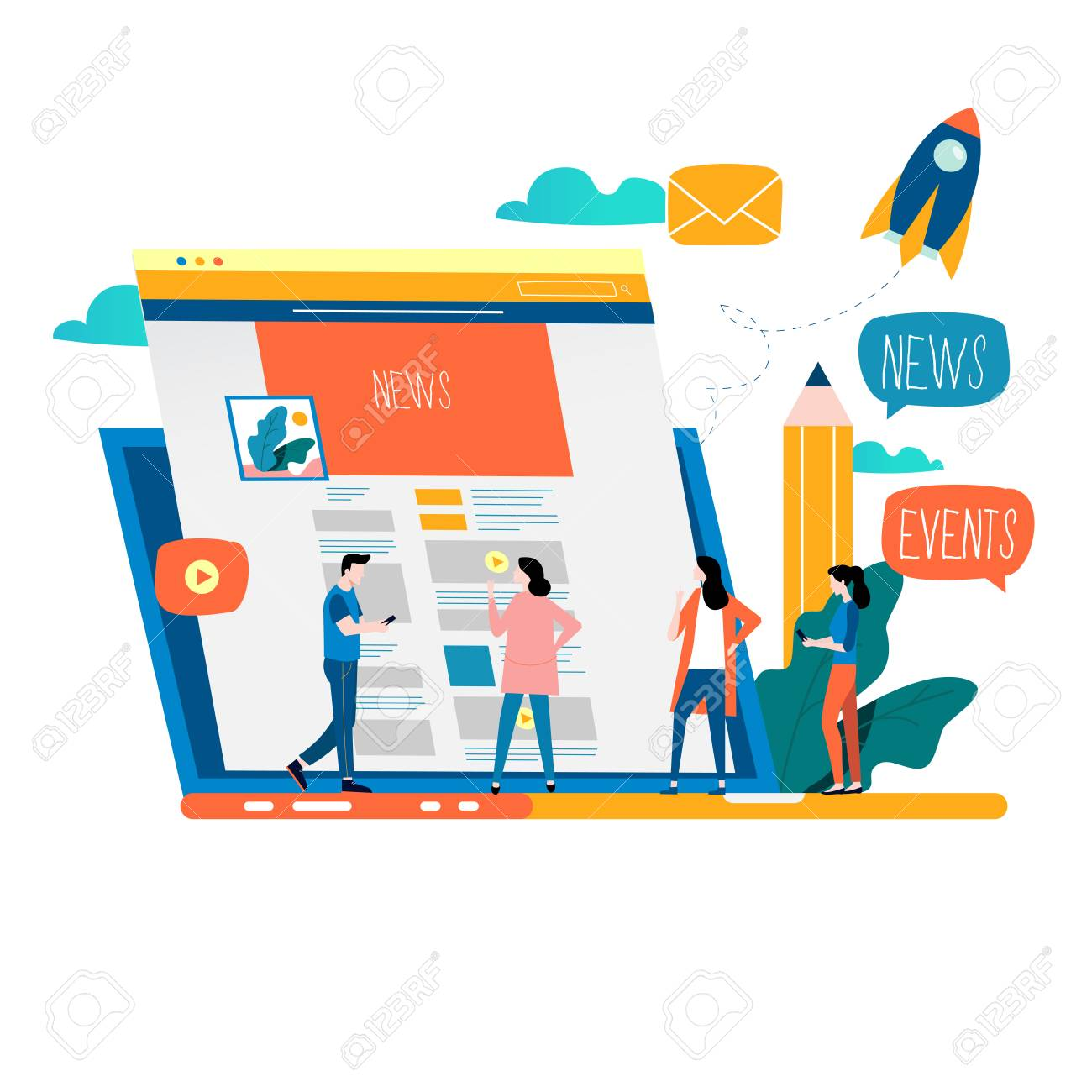 News update, online news, newspaper, news website flat vector illustration design. News webpage, information about events, activities, company information and announcements - 122214138