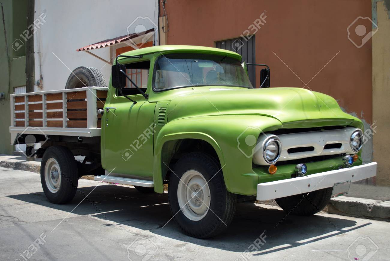 Old Ford Truck 50 Green Color Farmer Stock Photo, Picture And ...